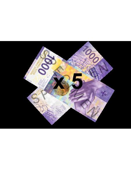 5 faux billets de 1000 CHF