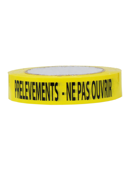 "Ruban adhésif jaune ""prélèvements ne pas ouvrir"""